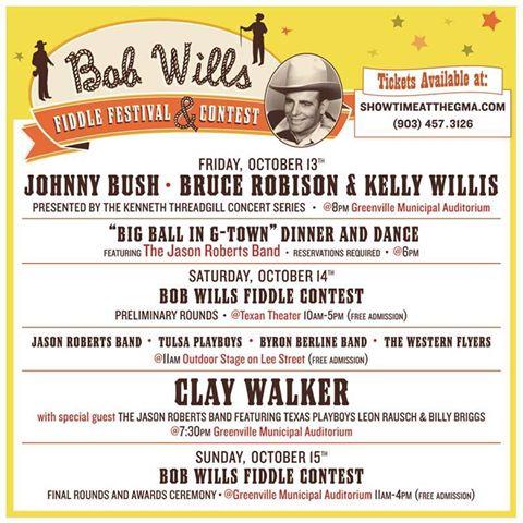 Bob Wills Fiddle Festival 2017 Schedule